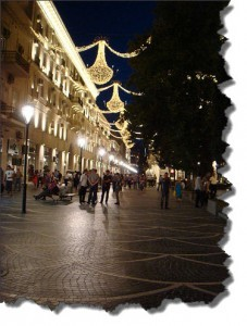 Вечером на улице Торговой в Баку