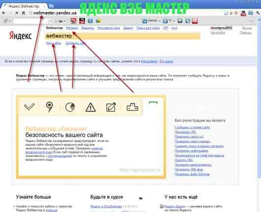 Сайт Яндекс вэб мастер