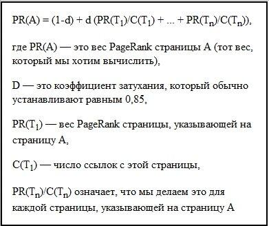 Таблица расчёта PR