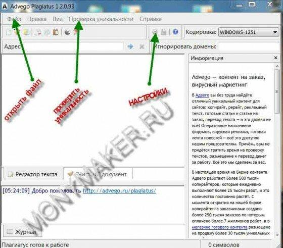 Интерфейс программы Advego Plagiatus